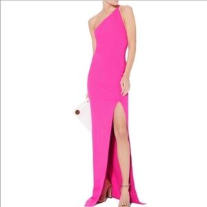 Pink Solace London half-shoulder gown